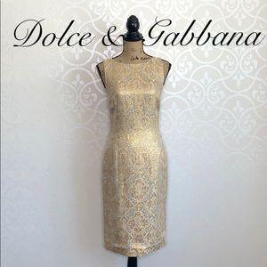 DOLCE & GABBANA GOLD METALLIC BROCADE SHEATH DRESS